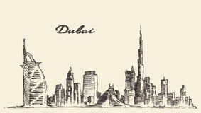 Συρμένη χέρι διανυσματική απεικόνιση οριζόντων πόλεων του Ντουμπάι Στοκ Φωτογραφίες