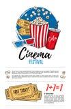 Συρμένη χέρι διανυσματική απεικόνιση - φεστιβάλ κινηματογράφων Κινηματογράφος και ταινία Στοκ Εικόνα