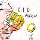 Συρμένη χέρι διανυσματική αφηρημένη ελεύθερη κατασκευασμένη ευχετήρια κάρτα προτύπων κολάζ με το αραβικό σχέδιο, latern, φεγγάρι, Στοκ φωτογραφίες με δικαίωμα ελεύθερης χρήσης