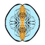 Συρμένη χέρι διανυσματική αφηρημένη δημιουργική ασυνήθιστη απεικόνιση με το γραφικό λουλούδι στα χρώματα κρητιδογραφιών Χέρι - πο Στοκ εικόνα με δικαίωμα ελεύθερης χρήσης