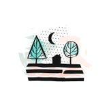 Συρμένη χέρι διανυσματική αφηρημένη Σκανδιναβική γραφική απεικόνιση με το σπίτι, τα δέντρα και τη νύχτα φεγγαριών στα χρώματα κρη διανυσματική απεικόνιση