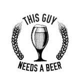 Συρμένη χέρι διανυσματική εικόνα αποσπάσματος μπύρας με το απόσπασμα για την μπύρα, ξανθός γερμανικός ζύθος, δυνατή μπύρα, αγγλικ Στοκ Εικόνα