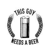 Συρμένη χέρι διανυσματική εικόνα αποσπάσματος μπύρας με το απόσπασμα για την μπύρα, ξανθός γερμανικός ζύθος, δυνατή μπύρα, αγγλικ Στοκ Φωτογραφίες