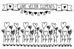 Συρμένη χέρι διανυσματική εκλεκτής ποιότητας απεικόνιση - στοιχεία καρδιών σκίτσων Doodle Κάρτα με τα περιγράμματα των καρδιών do Στοκ φωτογραφίες με δικαίωμα ελεύθερης χρήσης