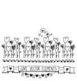 Συρμένη χέρι διανυσματική εκλεκτής ποιότητας απεικόνιση - στοιχεία καρδιών σκίτσων Doodle Κάρτα με τα περιγράμματα των καρδιών do Στοκ Φωτογραφία