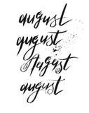 Συρμένη χέρι διανυσματική συλλογή που τίθεται με τη χειρόγραφη μαύρη κατασκευασμένη λέξη Αύγουστος μελανιού Στοκ Εικόνες