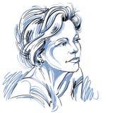 Συρμένη χέρι διανυσματική όμορφη ονειροπόλος γυναίκα, απεικόνιση διανυσματική απεικόνιση
