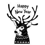 Συρμένη χέρι κάρτα διακοπών στο πουλόβερ καλή χρονιά Στοκ Εικόνα