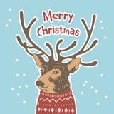 Συρμένη χέρι κάρτα διακοπών στο πουλόβερ cristmas εύθυμα Στοκ Εικόνες