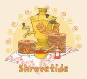 Συρμένη χέρι κάρτα δώρων Shrovetide ή Maslenitsa Στοκ φωτογραφίες με δικαίωμα ελεύθερης χρήσης