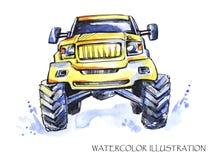 Συρμένη χέρι κάρτα με το μεγάλο αυτοκίνητο Πολύχρωμη απεικόνιση Watercolor Ενεργός τρελλός αθλητισμός Μεταφορά Στοκ Εικόνες
