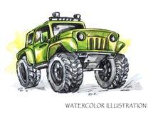 Συρμένη χέρι κάρτα με το μεγάλο αυτοκίνητο Πολύχρωμη απεικόνιση Watercolor Ενεργός τρελλός αθλητισμός Μεταφορά Στοκ φωτογραφίες με δικαίωμα ελεύθερης χρήσης