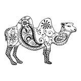 Συρμένη χέρι καμήλα που χρωματίζεται zentangl και doodle Στοκ Εικόνες