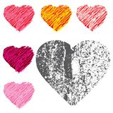 Συρμένη χέρι καρδιά και ύφος καρδιών grunge στο άσπρο υπόβαθρο απεικόνιση αποθεμάτων