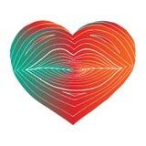 Συρμένη χέρι καρδιά με τα χείλια μέσα Γραμμικός μετασχηματισμός μορφής από τα χείλια στην καρδιά Εμπαθές ζωηρόχρωμο σημάδι στο λε ελεύθερη απεικόνιση δικαιώματος