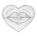 Συρμένη χέρι καρδιά με τα χείλια μέσα Γραμμικός μετασχηματισμός μορφής από τα χείλια στην καρδιά Μαύρη γραμμή στο άσπρο υπόβαθρο απεικόνιση αποθεμάτων