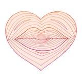 Συρμένη χέρι καρδιά με τα χείλια μέσα Γραμμικός μετασχηματισμός μορφής από τα χείλια στην καρδιά Ζωηρόχρωμες γραμμές στο λευκό ελεύθερη απεικόνιση δικαιώματος