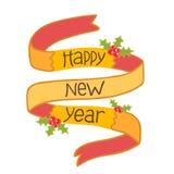 Συρμένη χέρι κορδέλλα καλής χρονιάς με το γκι Στοκ εικόνες με δικαίωμα ελεύθερης χρήσης