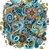 Συρμένη χέρι ναυτική απεικόνιση doodles κινούμενων σχεδίων χαριτωμένη Στοκ φωτογραφία με δικαίωμα ελεύθερης χρήσης