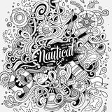 Συρμένη χέρι ναυτική απεικόνιση doodles κινούμενων σχεδίων χαριτωμένη Στοκ φωτογραφίες με δικαίωμα ελεύθερης χρήσης
