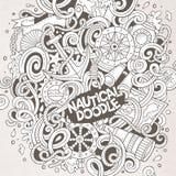 Συρμένη χέρι ναυτική απεικόνιση doodles κινούμενων σχεδίων χαριτωμένη Στοκ Φωτογραφίες