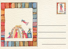 Συρμένη χέρι πίσω κάρτα Χριστουγέννων Στοκ Φωτογραφίες