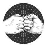 Συρμένη χέρι πρόσκρουση πυγμών διανυσματική απεικόνιση