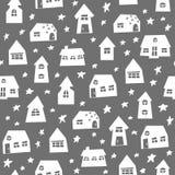 Συρμένη χέρι πόλη Doodle με το άνευ ραφής σχέδιο εγκαταστάσεων στοκ φωτογραφία με δικαίωμα ελεύθερης χρήσης