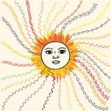 Συρμένη χέρι σκιαγραφημένη απεικόνιση ήλιων Στοκ εικόνα με δικαίωμα ελεύθερης χρήσης