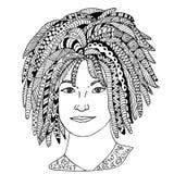Συρμένη χέρι σκιαγραφημένη απεικόνιση προσώπου κοριτσιών Πρόσωπο γυναικών Doodle γραφικό με το περίκομψο σχέδιο Στοκ φωτογραφία με δικαίωμα ελεύθερης χρήσης