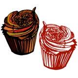 Συρμένη χέρι σοκολάτα cupcake Ελεύθερη απεικόνιση δικαιώματος