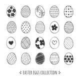 Συρμένη χέρι συλλογή αυγών Πάσχας Διανυσματικό σύνολο αυγών Πάσχας Doodle Στοκ Φωτογραφία