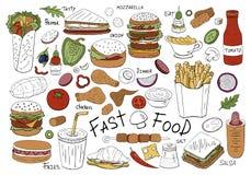 Συρμένη χέρι συλλογή γρήγορου φαγητού που απομονώνεται στο άσπρο υπόβαθρο Διανυσματικό σύνολο τροφίμων stree απεικόνιση αποθεμάτων