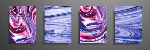 Συρμένη χέρι συλλογή της κάρτας που γίνεται από την ακρυλική σπιτική σύσταση Υγρή ζωηρόχρωμη σύσταση Ρευστή τέχνη αφηρημένη ζωγρα διανυσματική απεικόνιση