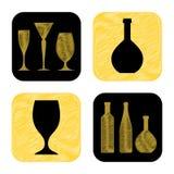 Συρμένη χέρι συλλογή εικονιδίων γυαλιού και μπουκαλιών κρασιού Στοκ Εικόνα