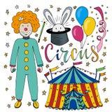 Συρμένη χέρι συλλογή τσίρκων με το ζωηρόχρωμο κλόουν, το μπαλόνι, τη σκηνή και το μαγικό κουνέλι Χρόνια πολλά διακοσμήσεις για το Στοκ εικόνες με δικαίωμα ελεύθερης χρήσης