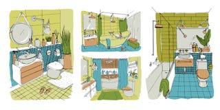 Συρμένη χέρι σύγχρονη συλλογή σχεδίου λουτρών και τουαλετών εσωτερική Ζωηρόχρωμες διανυσματικές απεικονίσεις σκίτσων καθορισμένες διανυσματική απεικόνιση