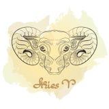 Συρμένη χέρι τέχνη γραμμών του διακοσμητικού zodiac σημαδιού Aries Στοκ Εικόνες