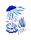 Συρμένη χέρι τυποποιημένη απεικόνιση watercolor Sealife με τη μέδουσα και το κοχύλι διανυσματική απεικόνιση