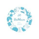 Συρμένη χέρι υγειονομική περίθαλψη και ιατρική doodle Στοκ φωτογραφίες με δικαίωμα ελεύθερης χρήσης