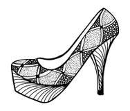Συρμένη χέρι υψηλή απεικόνιση παπουτσιών τακουνιών Στοκ Φωτογραφίες