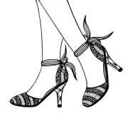 Συρμένη χέρι υψηλή απεικόνιση παπουτσιών τακουνιών Στοκ Εικόνα