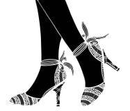 Συρμένη χέρι υψηλή απεικόνιση παπουτσιών τακουνιών Στοκ φωτογραφία με δικαίωμα ελεύθερης χρήσης