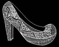 Συρμένη χέρι υψηλή απεικόνιση παπουτσιών τακουνιών Στοκ εικόνα με δικαίωμα ελεύθερης χρήσης