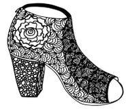 Συρμένη χέρι υψηλή απεικόνιση παπουτσιών τακουνιών Στοκ Φωτογραφία