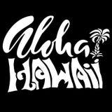 Συρμένη χέρι φράση Aloha Χαβάη Σχέδιο εγγραφής Διανυσματική απεικόνιση φοινικών Στοκ φωτογραφίες με δικαίωμα ελεύθερης χρήσης
