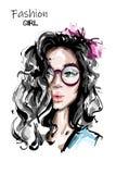 Συρμένη χέρι όμορφη νέα γυναίκα με μακρυμάλλη Μοντέρνο κομψό κορίτσι με το τόξο στην τρίχα γυναίκα πορτρέτου μόδας απεικόνιση αποθεμάτων