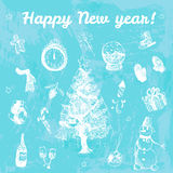 Συρμένη χέρι doodle απεικόνιση καλής χρονιάς Άσπρες εικόνες, μπλε υπόβαθρο watercolor Στοκ Εικόνα