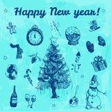 Συρμένη χέρι doodle απεικόνιση καλής χρονιάς Εικόνες λουλακιού, μπλε υπόβαθρο watercolor Στοκ Φωτογραφία