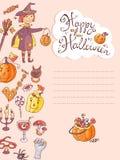 Συρμένη χέρι doodle διανυσματική ευχετήρια κάρτα αποκριών με τη μάγισσα, απεικόνιση αποθεμάτων